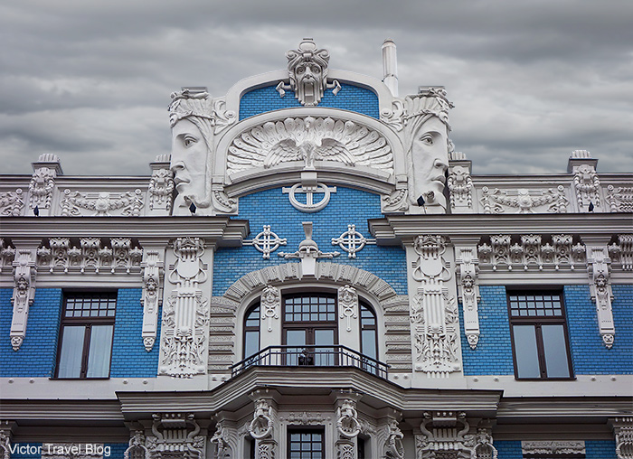 The Jugendstil building by Mikhail Eisenstein. Elizabetes Street, 10b, Riga, Latvia.