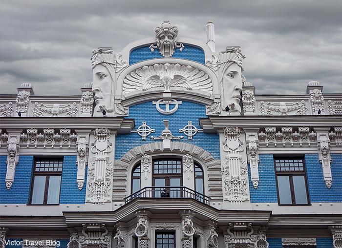 The Jugendstil building by Mikhail Eisenstein. Elizabetes Street, 10b, Riga, Latvia.