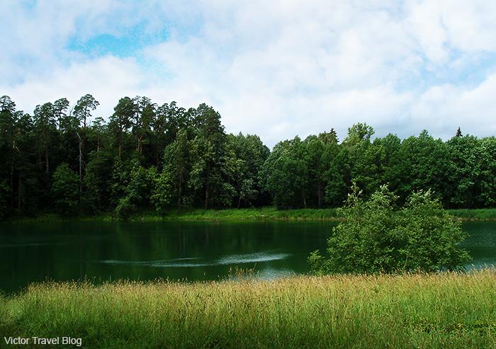 Lake in the Chernyshov estate, Yaropolec, Russia.