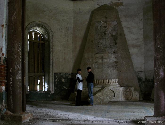 Ruins of the Russian Kazan Theotokos Church. Chernyshov estate, Yaropolec, Russia.