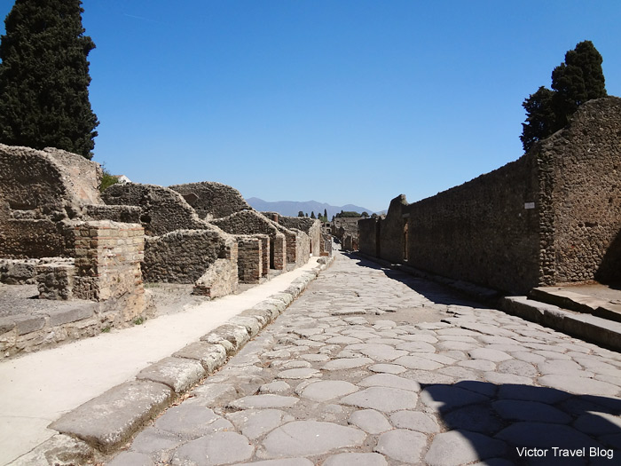 One of the streets of  Pompeii, Italy.
