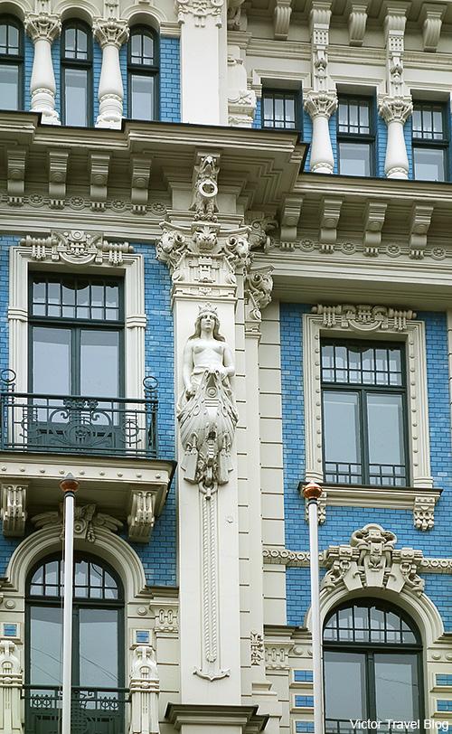 Art Nouveau Style or Jugendstil. Strelnieku Street, 4, Riga, Latvia.