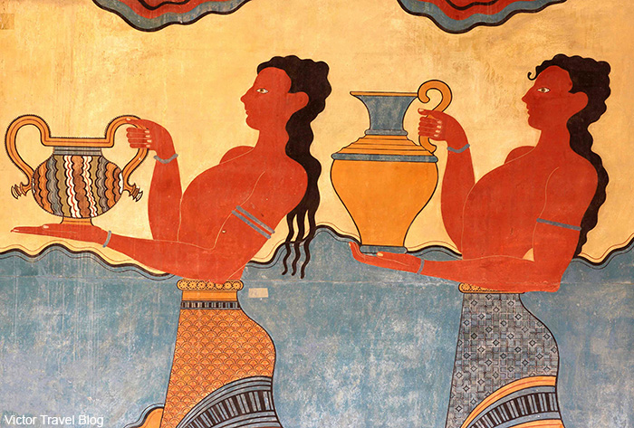 Fresco in the Minoan Palace of Knossos. Crete, Greece.
