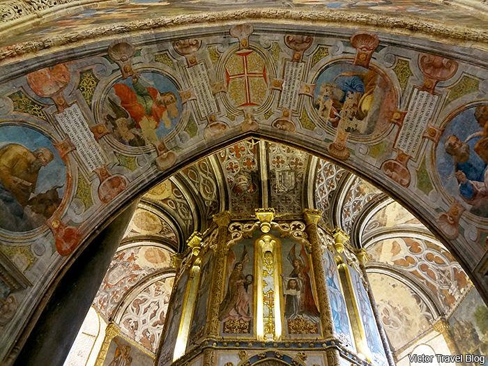 Inside of the Round Church of the Convent of Christ in Tomar, Portugal.