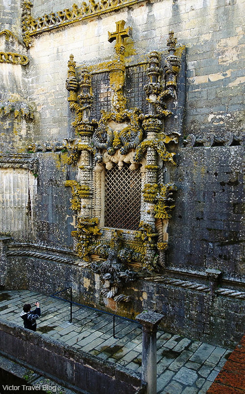 The Manueline window of the Convento de Christo in Tomar, Portugal.