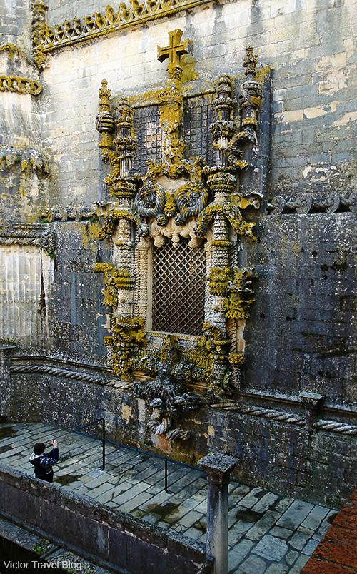 The Manueline window of the Convento de Christo in Tomar, Portugal.