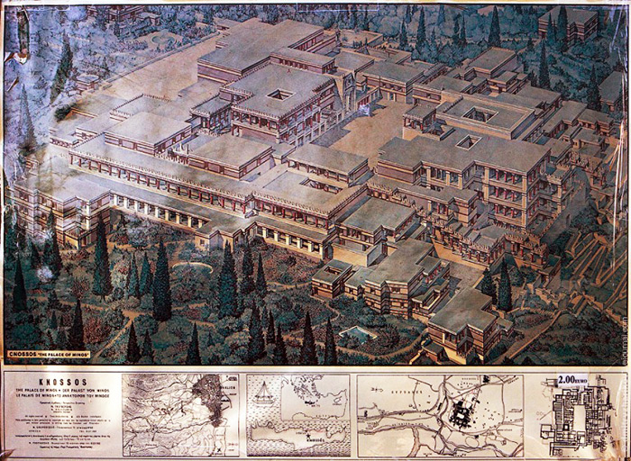 Reconstruction of the Minoan Palace of Knossos. Crete, Greece.