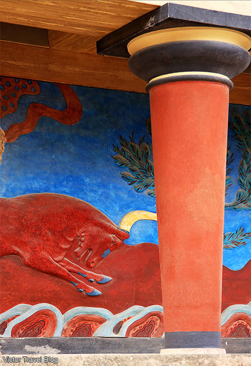 Minotaur. Fresco in the Minoan Palace of Knossos. Crete, Greece.