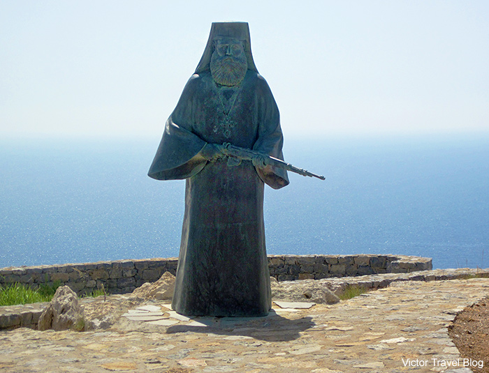 The monument to the monks in the Monastery of Preveli. Crete, Greece.