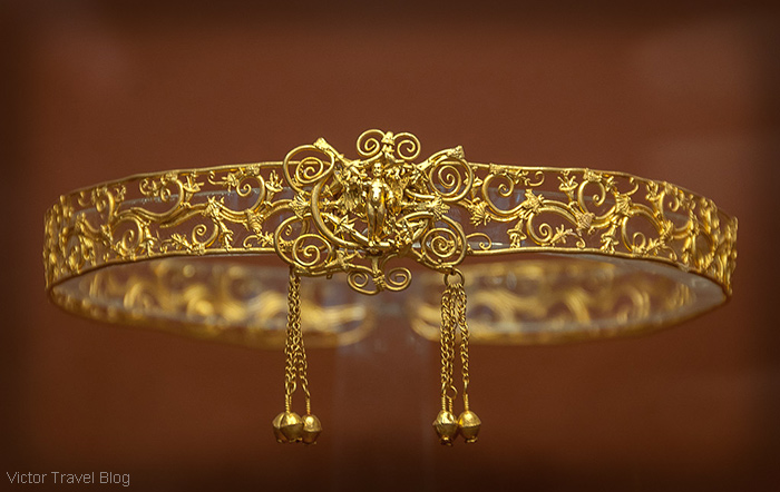 Ancient Greek golden decoration. The National Archaeological Museum of Athens. Greece.