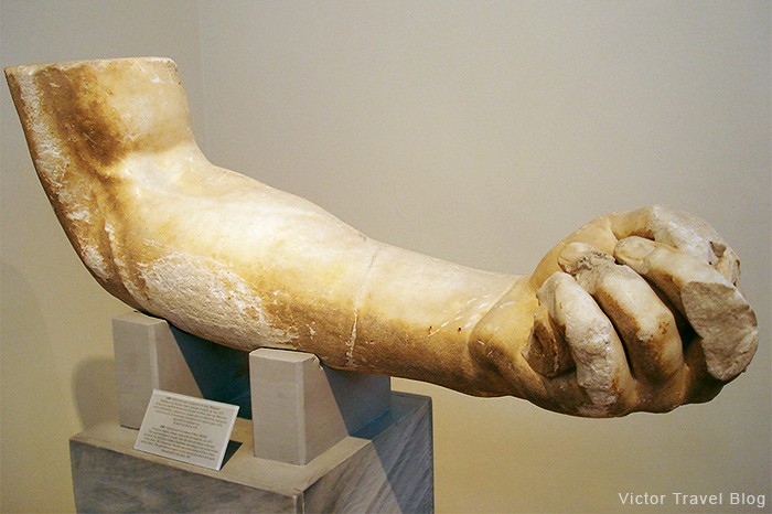 Fragment of Ancient Greek statue. Hand. The National Archaeological Museum of Athens. Greece.