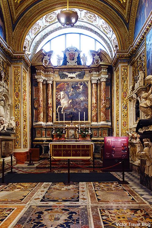 Chapel of Aragon. St John's Co-Cathedral of Valletta, Malta.