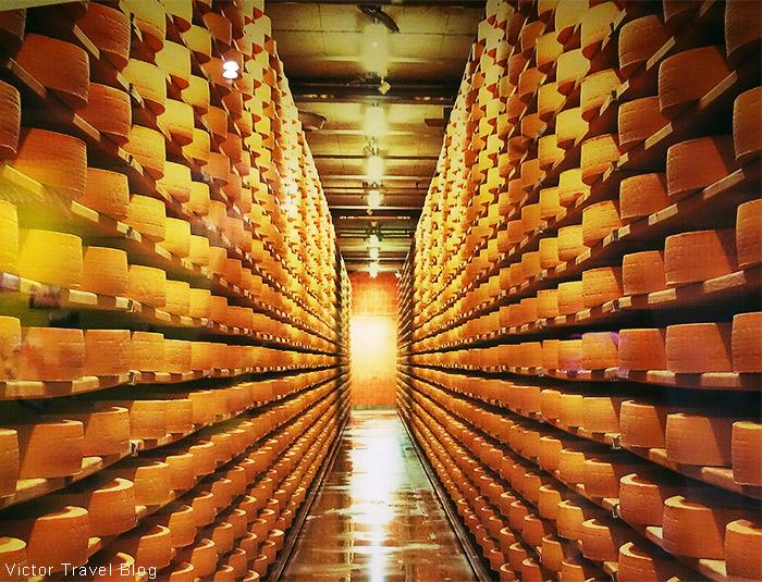 Cheese cave of La Maison du Gruyere. Gruyeres, Switzerland.