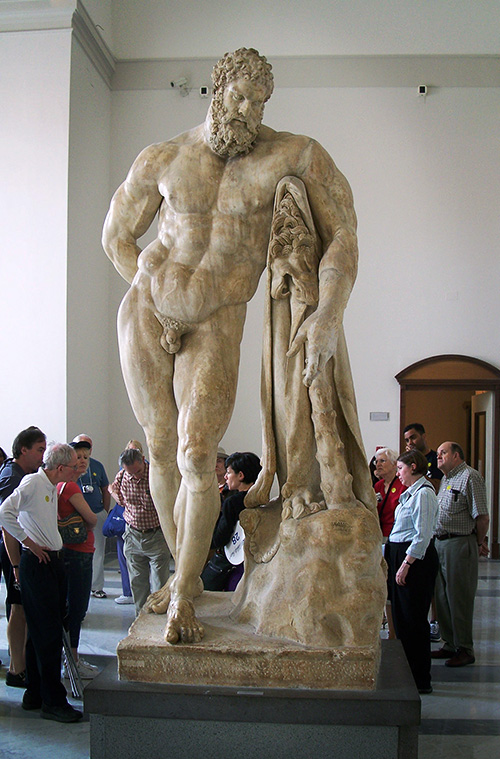 The statue of Hercules. The Naples National Archaeological Museum. Italy.