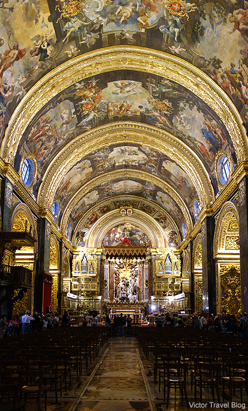 Interior of St John's Co-Cathedral of Valletta, Malta.