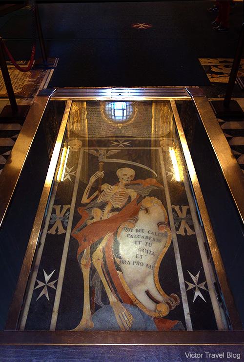 French knight Anselmo de Caijs' tomb in St John's Co-Cathedral of Valletta, Malta.