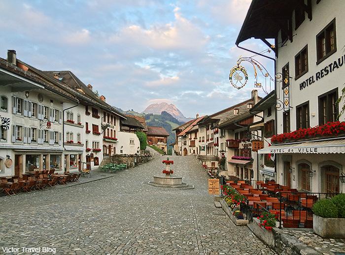The only street of Gruyeres, Switzerland.