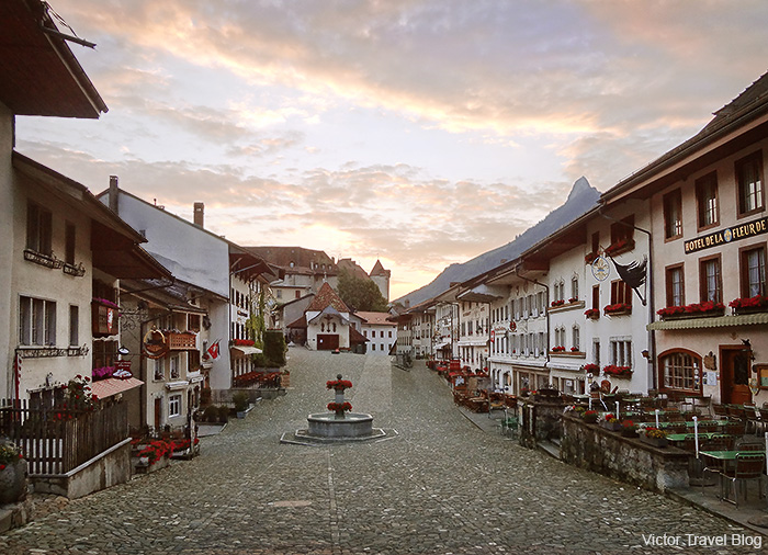 The only street of the Gruyeres, Switzerland.