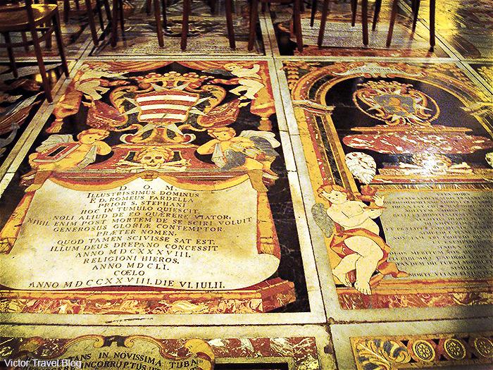 Beautiful tombstones in St John's Co-Cathedral of Valletta, Malta.