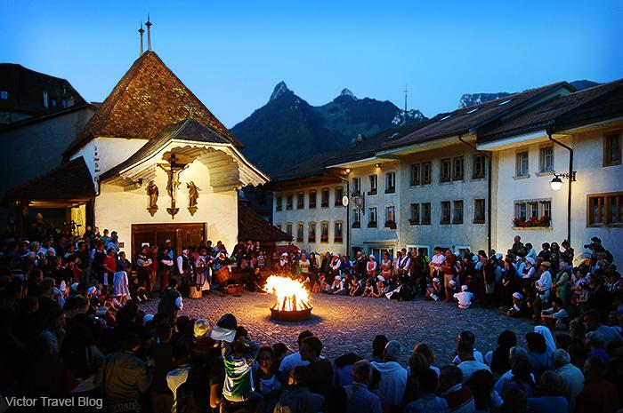 A ritual bonfire. Summer solstice celebration in Gruyeres, Switzerland.