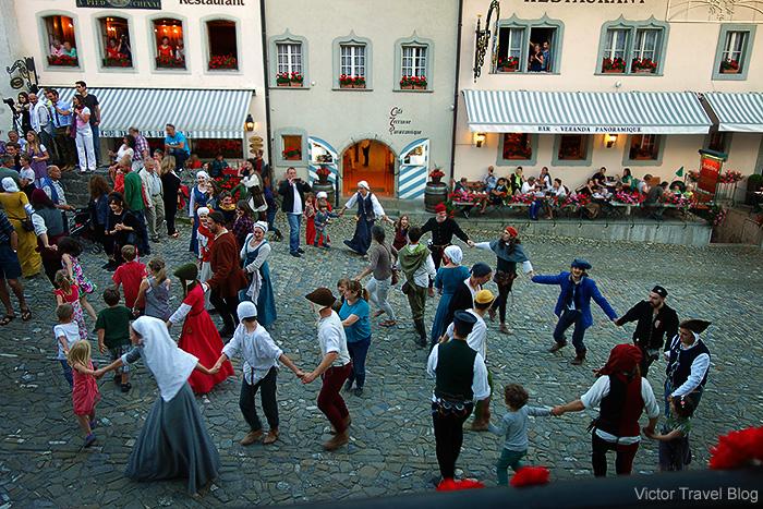 Medieval dances. Summer solstice celebration in Gruyeres, Switzerland.