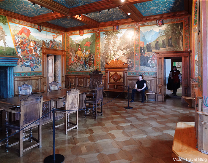Interior of the Gruyeres Castle. Switzerland.