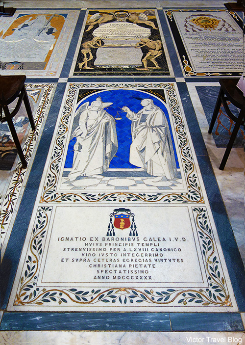 Beautiful tombstones of the St. Paul's Cathedral in Mdina. Malta.