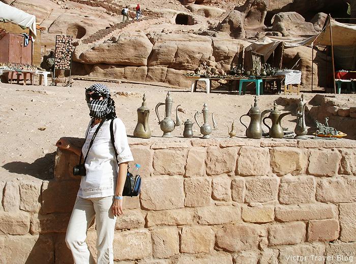 Jordanian national costume. Petra, Jordan.