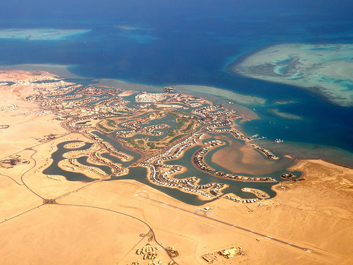 Air view of the El Gouna resort, Egypt, Red Sea.