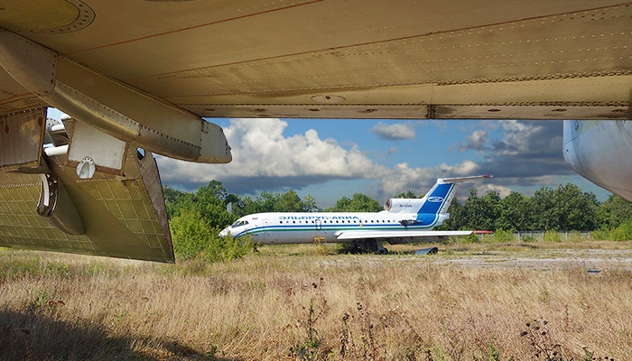 Abandoned aircraft in the former Bykovo Airport. Moscow, Russia.