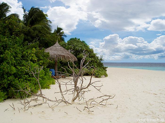 Beach of the Robinson Club Maldives.