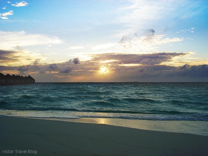 Sunset. The Robinson Club Maldives. The island of Funamadua, Gaafu Alifu Atoll.