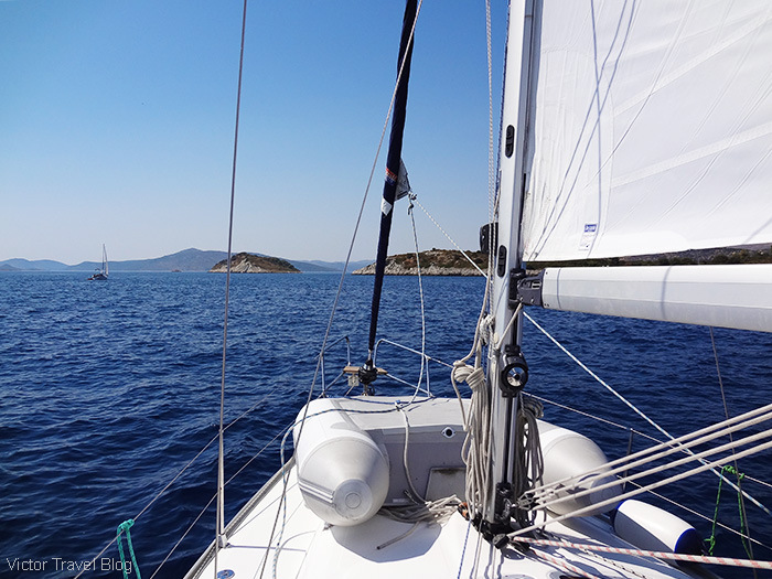 Sailing. The island of Rhodes, Greece.