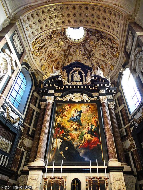 Inside of the St. Carolus Borromeus Church. Antwerp, Belgium.