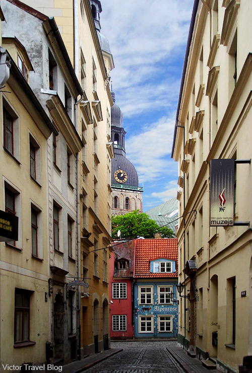 A street of Old Riga, the capital of Latvia.