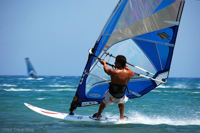 Windsurfing. Prassonissi. The island of Rhodes, Greece.