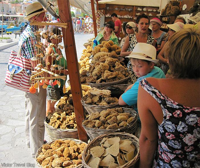 The sponge market. Symi, Greece.