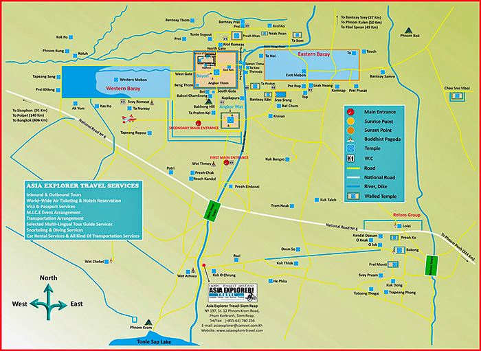 The Angkor Archaeological Park map. Cambodia