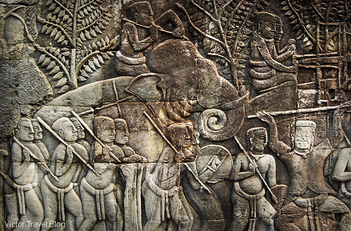 Carving in the Khmer temple of Bayon. Angkor Complex, Cambodia.