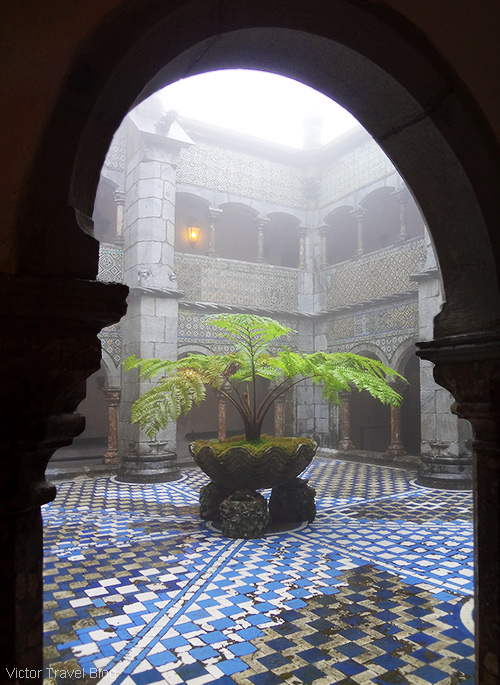 Pena National Palace in fog. Sintra, Portugal.
