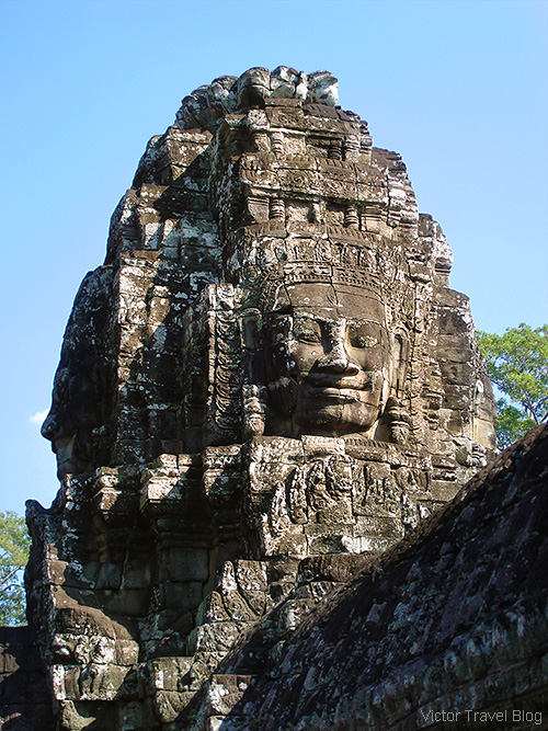The Bayon temple of the Angkor complex. Cambodia.