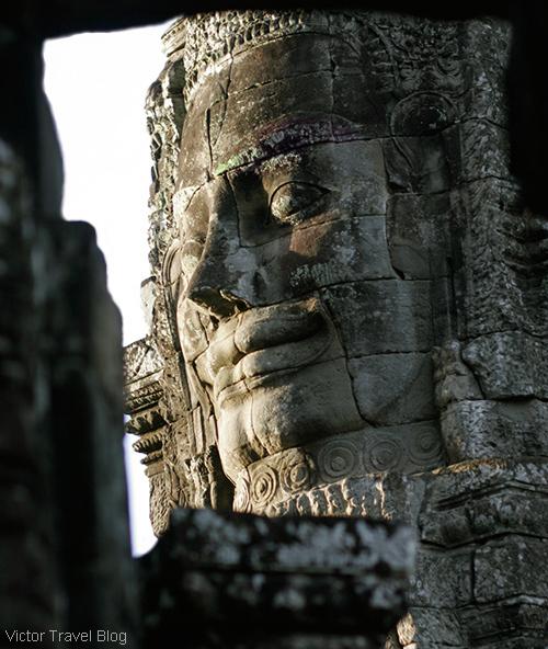 Stone face. The Bayon Temple. Angkor Complex, Cambodia.