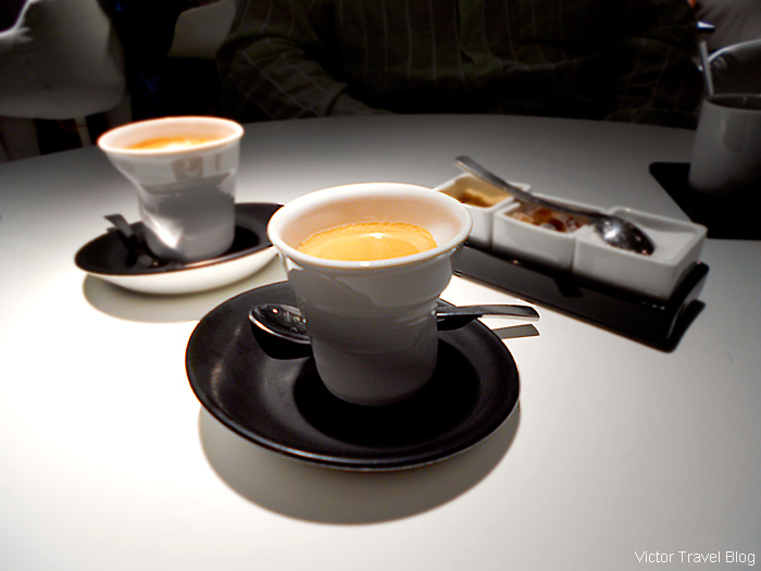 Coffee. Michelin star restaurant Eskis in Lyon, France.