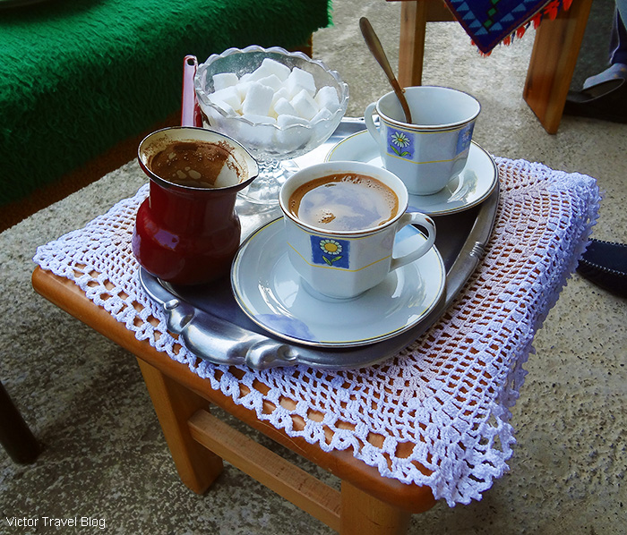 Coffee in the Luis trout farm. Bosnia.