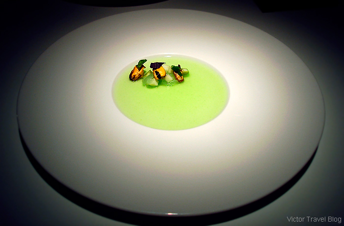 Mussels. Michelin star restaurant Eskis in Lyon, France.