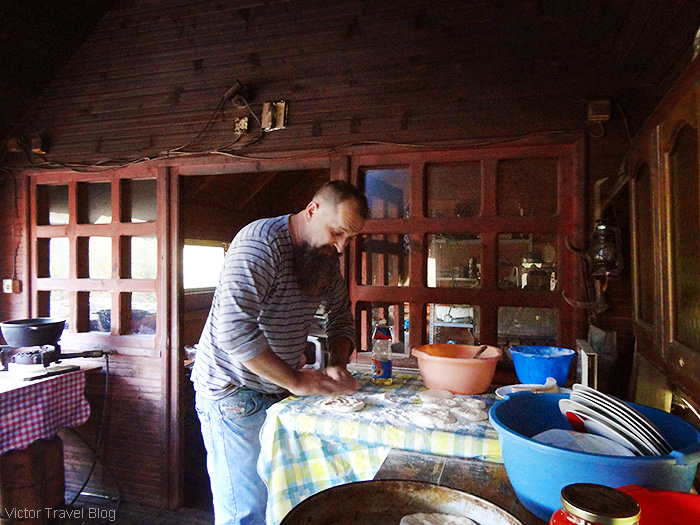 Luis, the owner of the trout farm. Bosnia.
