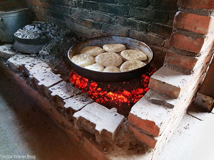 Homemade bread. The Luis trout farm. Bosnia.