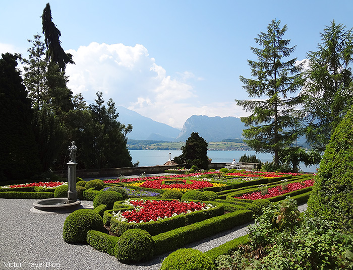 The garden of Oberhofen Castle, Switzerland.