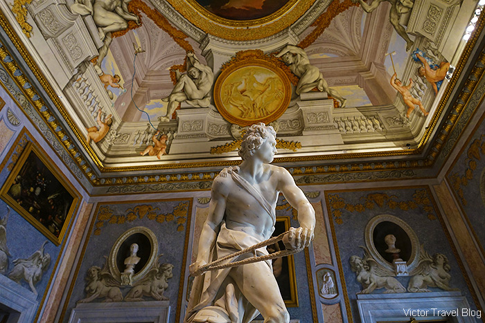 Statue of David by Gian Lorenzo Bernini. The Museo Borghese, Roma, Italy.