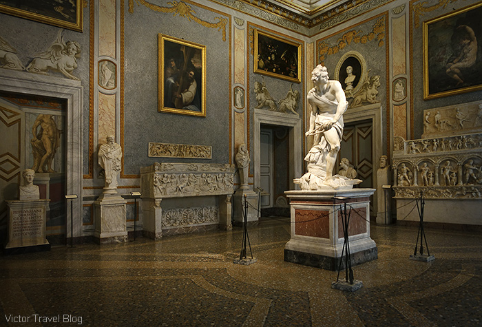 Statue of David by Gian Lorenzo Bernini. The Museo Borghese, Roma, Italy.